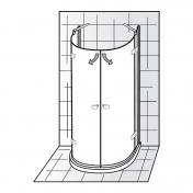 materialien f r ausbauarbeiten duschkabine halbkreis 90x90. Black Bedroom Furniture Sets. Home Design Ideas