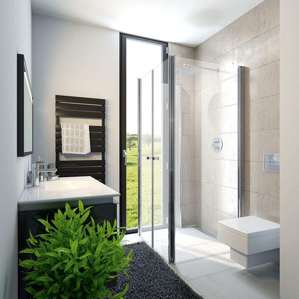 hsk exklusiv profil drehfaltt r fensterl sung platzsparende duschkabine. Black Bedroom Furniture Sets. Home Design Ideas