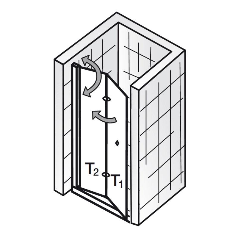 hsk duscht r nischent r exklusiv 406075 drehfaltt r. Black Bedroom Furniture Sets. Home Design Ideas