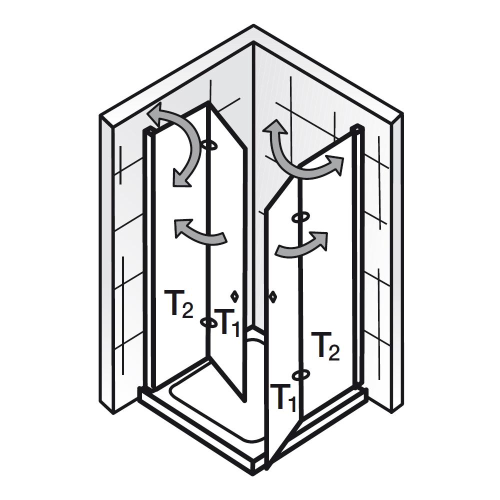 Dusche Eckeinstieg 80X80 : HSK Duschkabine – Eckeinstieg mit Drehfaltt?r – Exklusiv, 426010