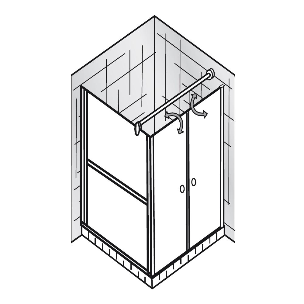 Duschkabine clipart  EXKLUSIV – Pendeltür mit Seitenwand, Alu silber-matt-410075-440075 ...
