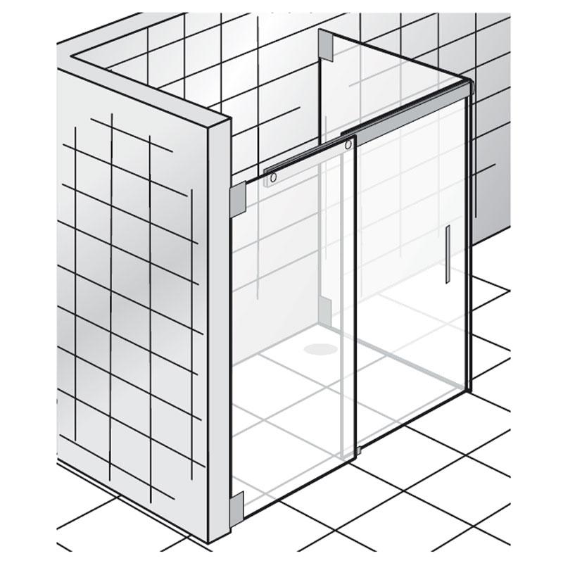 hsk k231 duschkabine gleittr 2 teilig mit seitenwand - Dusche Glastur Nach Mas 2