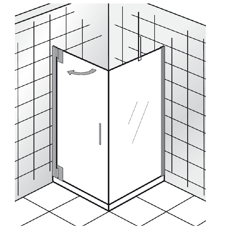 duschabtrennung t r mit seitenwand eckventil waschmaschine. Black Bedroom Furniture Sets. Home Design Ideas