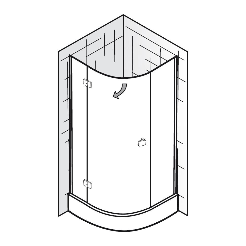hsk viertelkreis runddusche premium softcube 3 teilig radius 450 mm. Black Bedroom Furniture Sets. Home Design Ideas