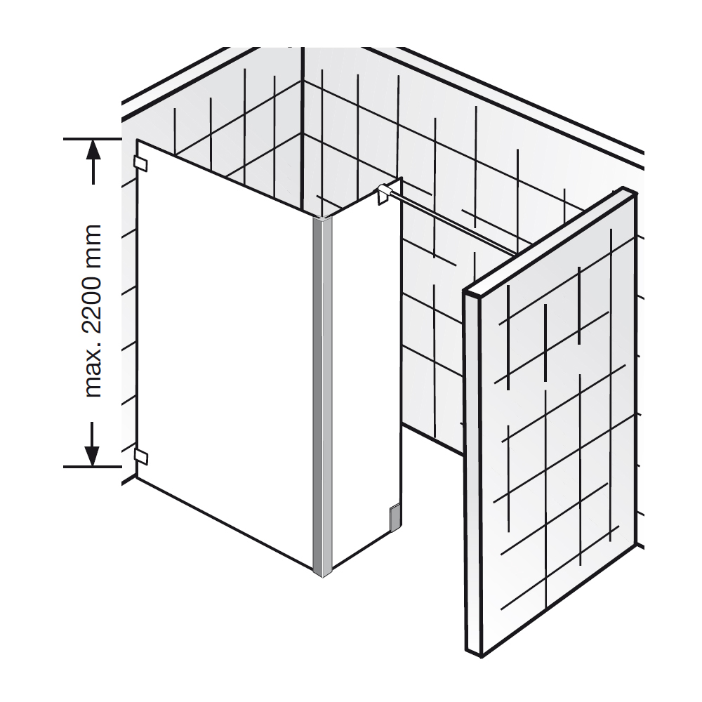 hsk walk in dusche atelier pur ap 71 glaselement mit seitenteil. Black Bedroom Furniture Sets. Home Design Ideas