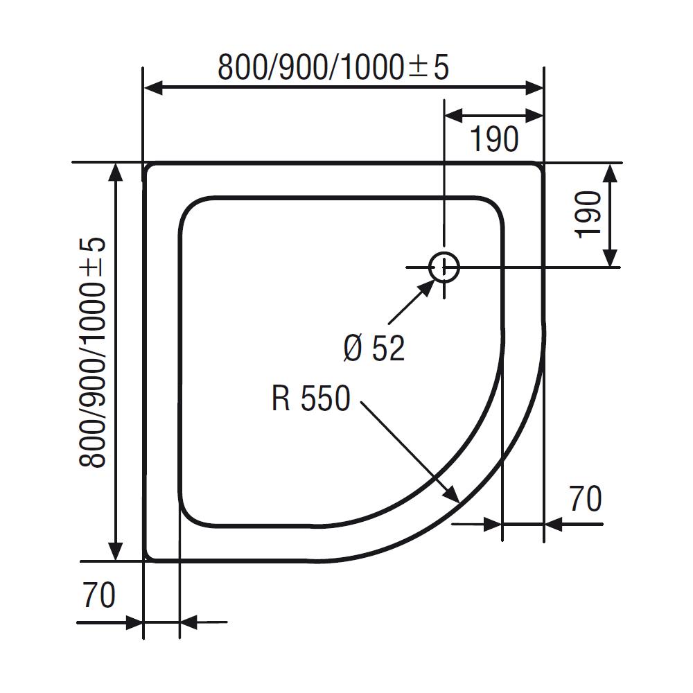 Turbo HSK Duschwanne Viertelkreis R550 - Duschtrasse Acryl, flach  MB31