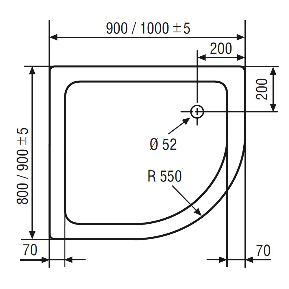 Duschtasse asymmetrisch Acryl, flach, Standardfarben-500170 ... | {Duschwanne maße 47}