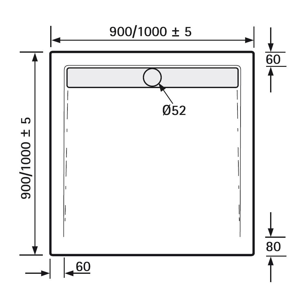 hsk duschwanne quadrat duschtrasse acryl superflach. Black Bedroom Furniture Sets. Home Design Ideas