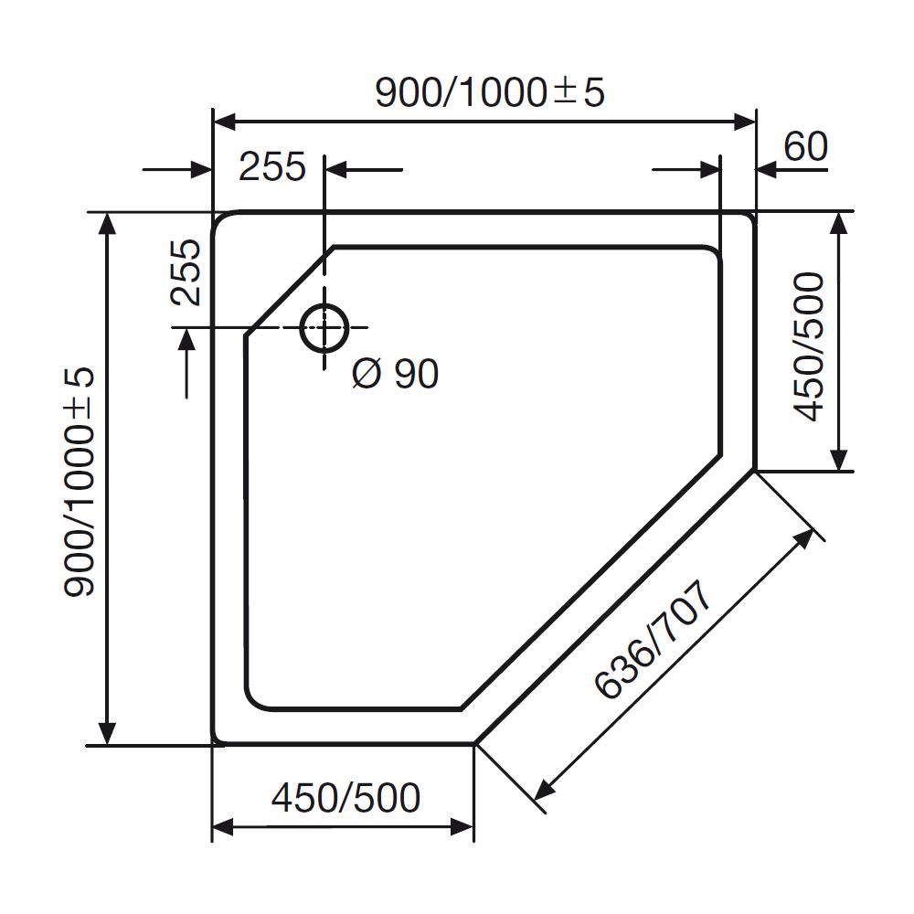 hsk duschwanne f nfeckig 515090 f nfeck duschtasse acryl super flach. Black Bedroom Furniture Sets. Home Design Ideas
