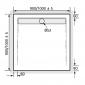 Acryl Duschwanne Quadrat mit Rinne für Bodeneinbau, super flach