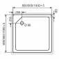 Acryl Duschwanne Quadrat für Bodeneinbau, super flach