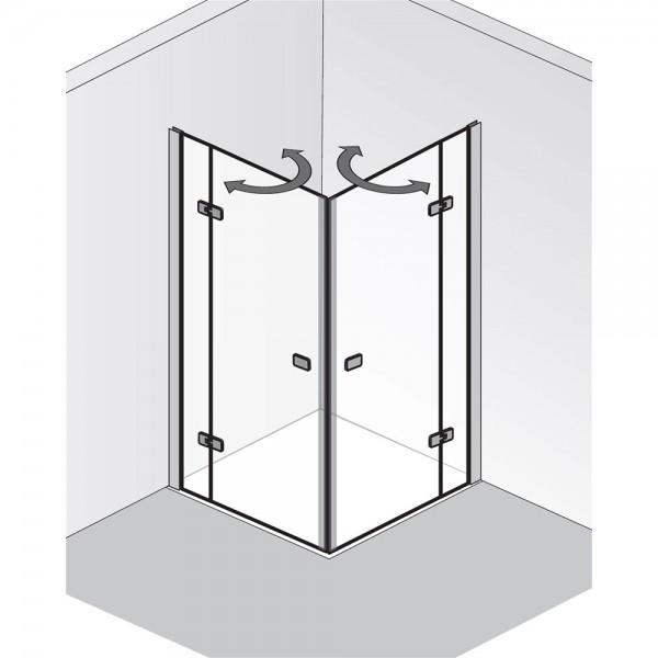 HSK Premium Softcube Eckeinstieg Drehtür pendelbar 4-teilig