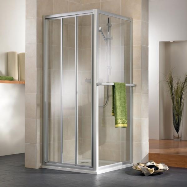 HSK Favorit Gleittür 3-teilig mit Seitenwand Kunstglas