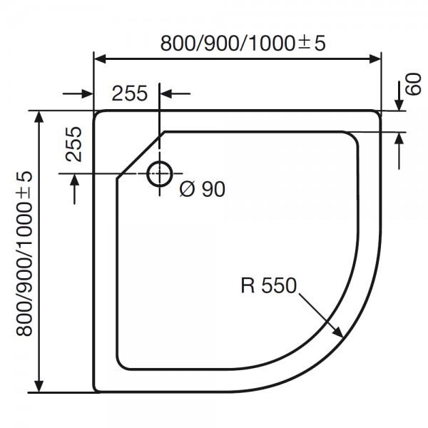 HSK Duschwanne Viertelkreis, 505080 | Duschtasse Acryl, super ... | {Duschwanne einbauen ohne wannenträger 91}