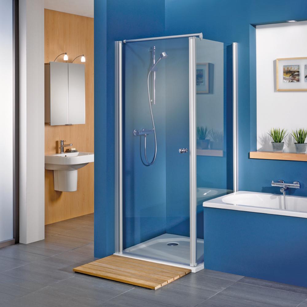 hsk exklusiv eck duschkabine schwenkbare glaswand mit dreht r. Black Bedroom Furniture Sets. Home Design Ideas