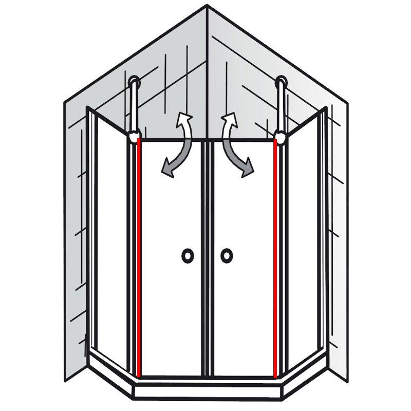 au endichtung et exklusiv f nfeckdusche 4 teilig. Black Bedroom Furniture Sets. Home Design Ideas