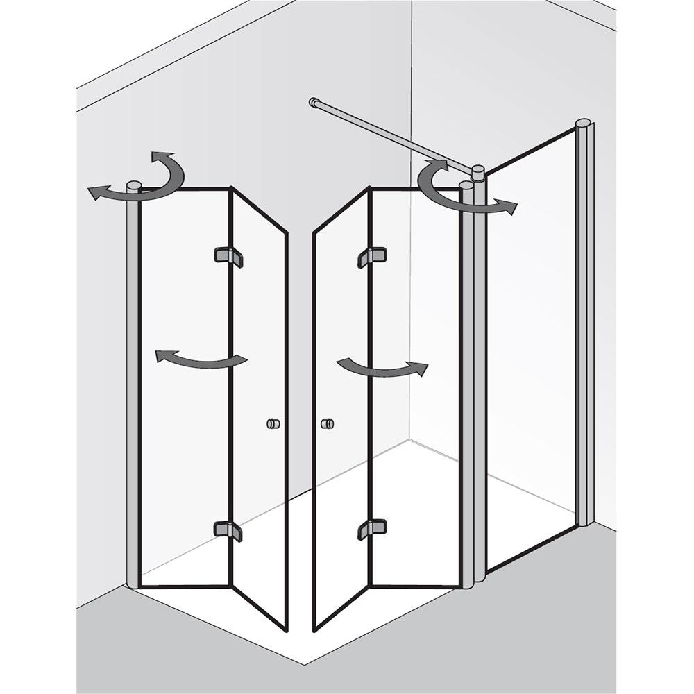 hsk duschkabine eckeinstieg mit drehfaltt r und festelement exklusiv 427024. Black Bedroom Furniture Sets. Home Design Ideas