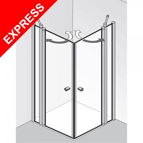 HSK Exklusiv Eckeinstieg 4-teilig alu silber-matt 90 x 90 x 185 o. 200 cm