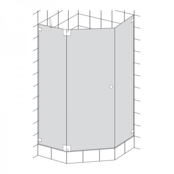 HSK Kienle Fünfeckdusche 3-teilig Drehtür und 2 Seitenteile