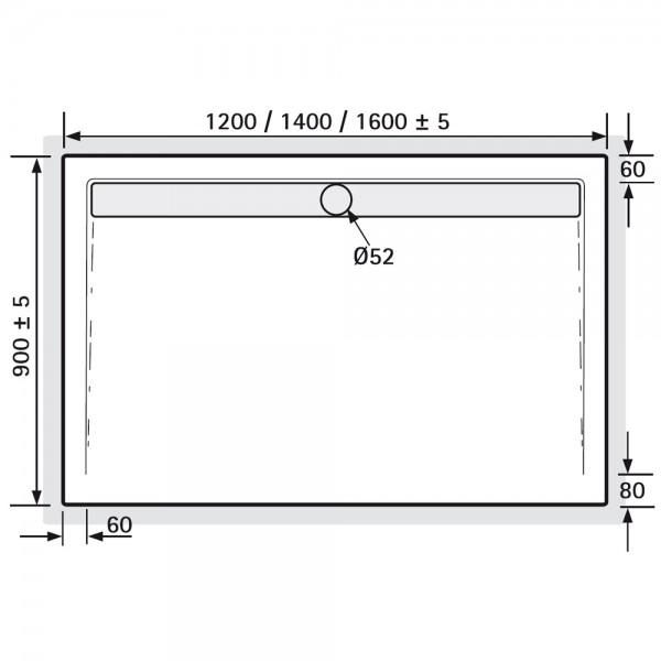acryl duschwanne recheck mit rinne f r bodeneinbau super. Black Bedroom Furniture Sets. Home Design Ideas