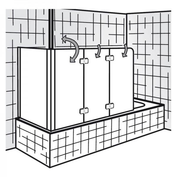 HSK Softcube Badewannenaufsatz 3-teilig mit Seitenwand