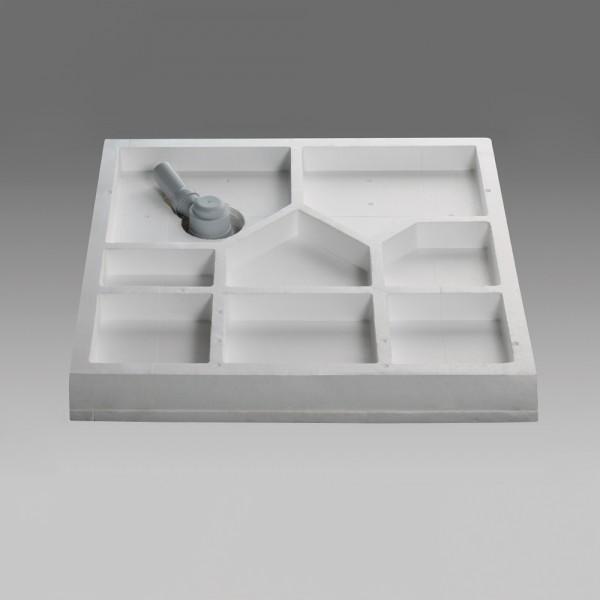 Wannenträger Viertelkreis asym., flach - 90 x 80 cm