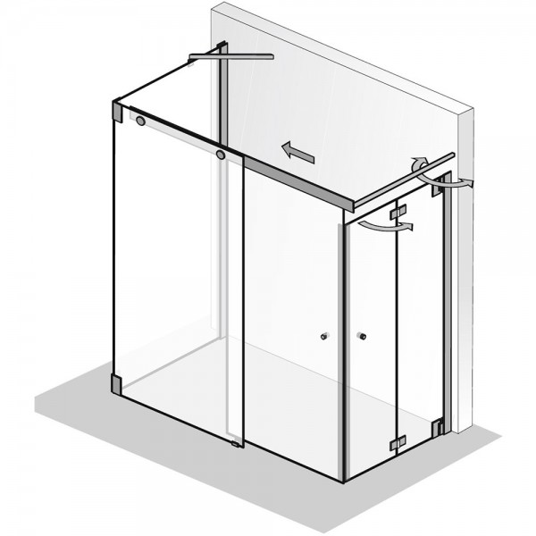 HSK K2P Gleittür 2-teilig mit Drehfalttür + Seitenwand