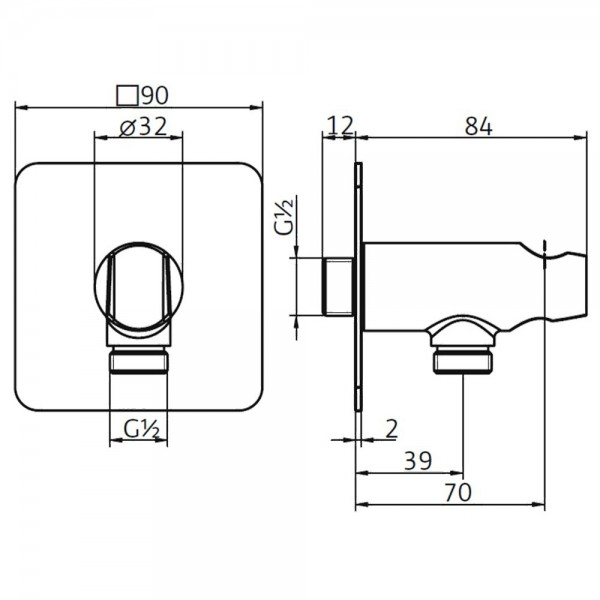 HSK Wandanschlussbogen mit Handbrausehalter Softcube