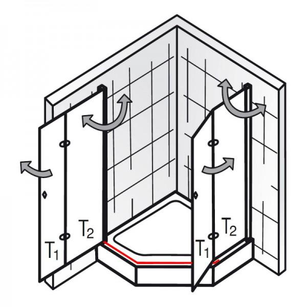 wasserleiste inkl endkappen et exklusiv f nfeckdusche mit drehfaltt r ersatzteile. Black Bedroom Furniture Sets. Home Design Ideas