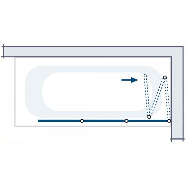 HSK Badewannenaufsatz Prima 3-teilig Kunstglas SpeedLine