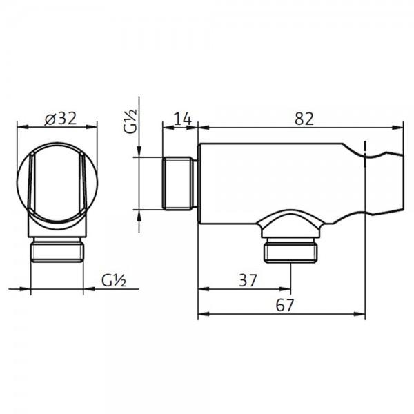HSK Wandanschlussbogen mit Handbrausehalter Rund