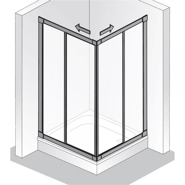 HSK PRIMA Eckeinstieg - Gleittür, 4 teilig - Kunstglas