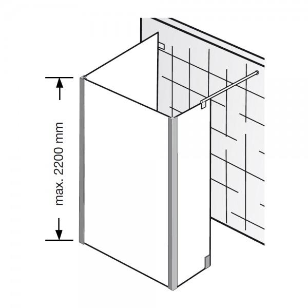 hsk walk in dusche atelier pur ap 74 glaselement mit seitenteil und seitenwand. Black Bedroom Furniture Sets. Home Design Ideas