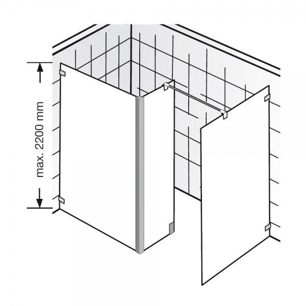 hsk walk in dusche atelier pur ap 72 glaselement mit seitenteil und freistehender. Black Bedroom Furniture Sets. Home Design Ideas