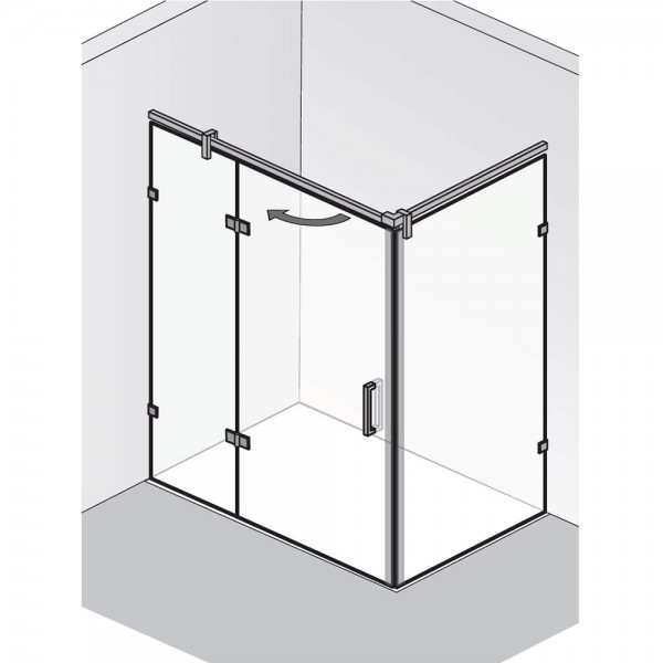 HSK Atelier Plan Pur Drehtür an Nebenteil und Seitenwand AP.223