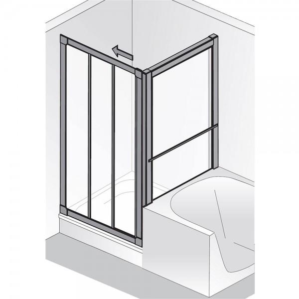 HSK Prima Gleittür 3-teilig mit verkürzter Seitenwand Kunstglas