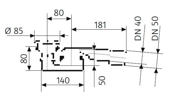 Dallmer Ablaufgarnitur für HSK Duschwanne - mit integrierter Ablaufrinne – Kappe verchromt, super-fl
