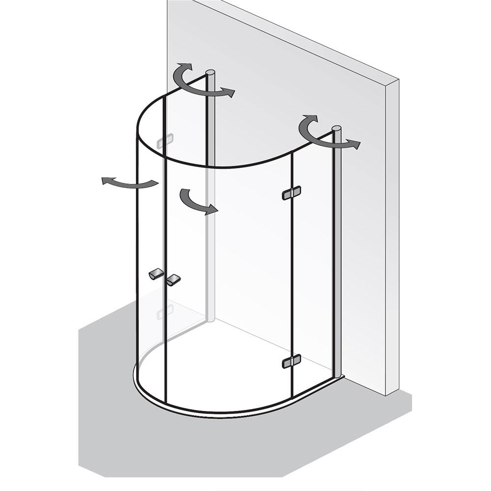 platzsparende duschkabine hsk exklusiv halbkreis runddusche mit drehfaltt r. Black Bedroom Furniture Sets. Home Design Ideas