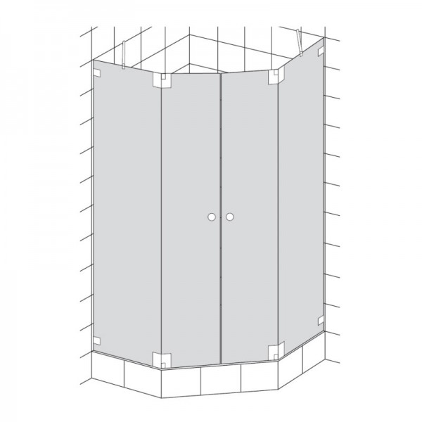 HSK Kienle Fünfeckdusche 4-teilig 2 Drehtüren + 2 Seitenteile