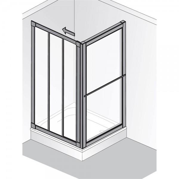 HSK Prima Gleittür 3-teilig mit Seitenwand Kunstglas