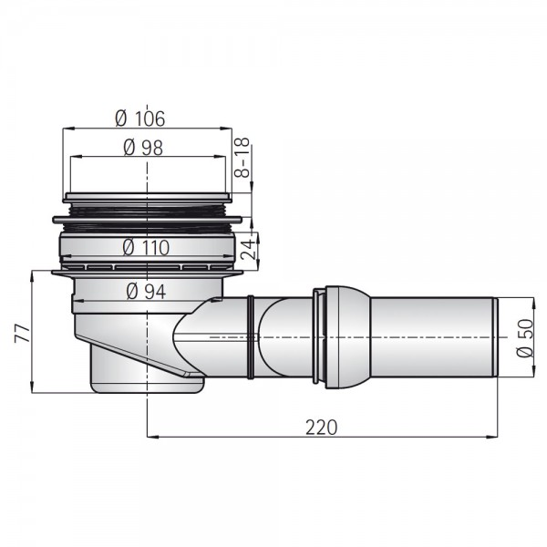 Dallmer Ablaufgarnitur für HSK Duschwannen mit RenoDeco-Oberfläche + Punktablauf