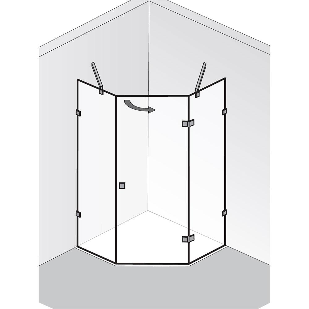 hsk f nfeckdusche atelier pur dreht r und 2 seitenteile. Black Bedroom Furniture Sets. Home Design Ideas