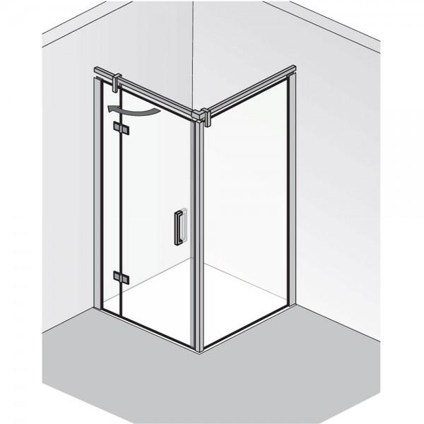 HSK Atelier Plan Drehtür an Nebenteil mit Seitenwand