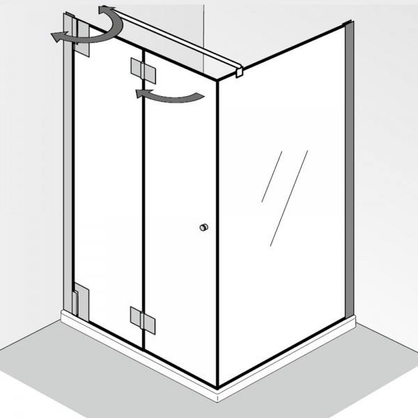 HSK K2P Drehfalttür mit Seitenwand