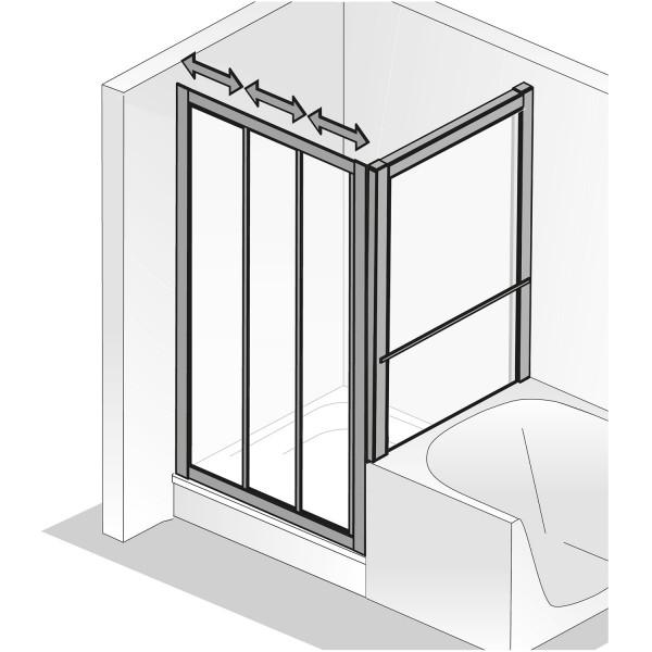 HSK Favorit Gleittür 3-teilig mit verkürzter Seitenwand Kunstglas
