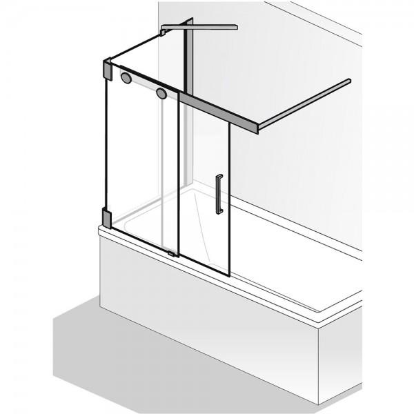 HSK Badewannenaufsatz K2P Gleittür 2-teilig Seitenwand
