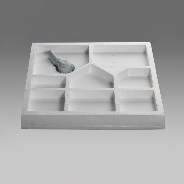 Wannenträger Viertelkreis asym., super-flach - 80 x 90 cm