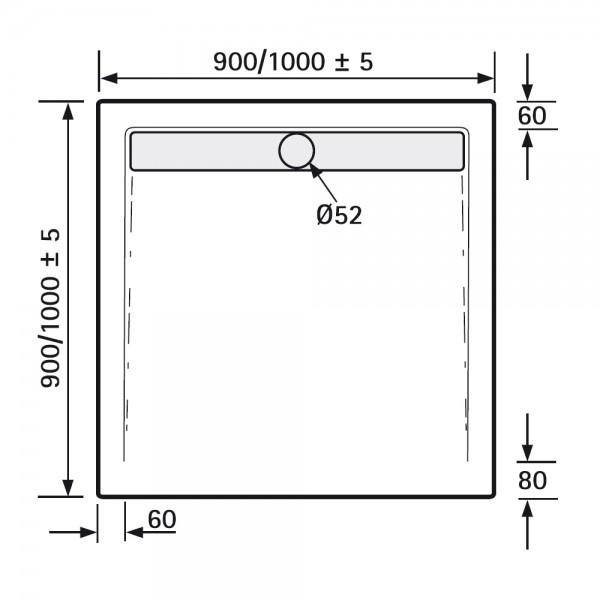 HSK Duschwanne Quadrat - Duschtrasse Acryl, superflach, mit ... | {Duschwanne einbauen ohne wannenträger 97}