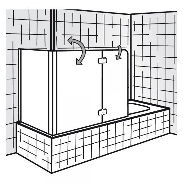 HSK Badewannenaufsatz Premium Softcube 2-teilig mit Seitenwand