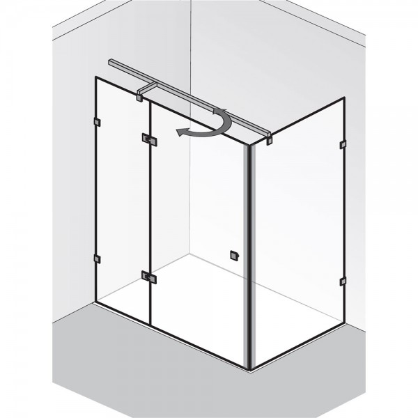 HSK Atelier Pur AP.123 Drehtür pendelbar an Nebenteil mit Seitenwand